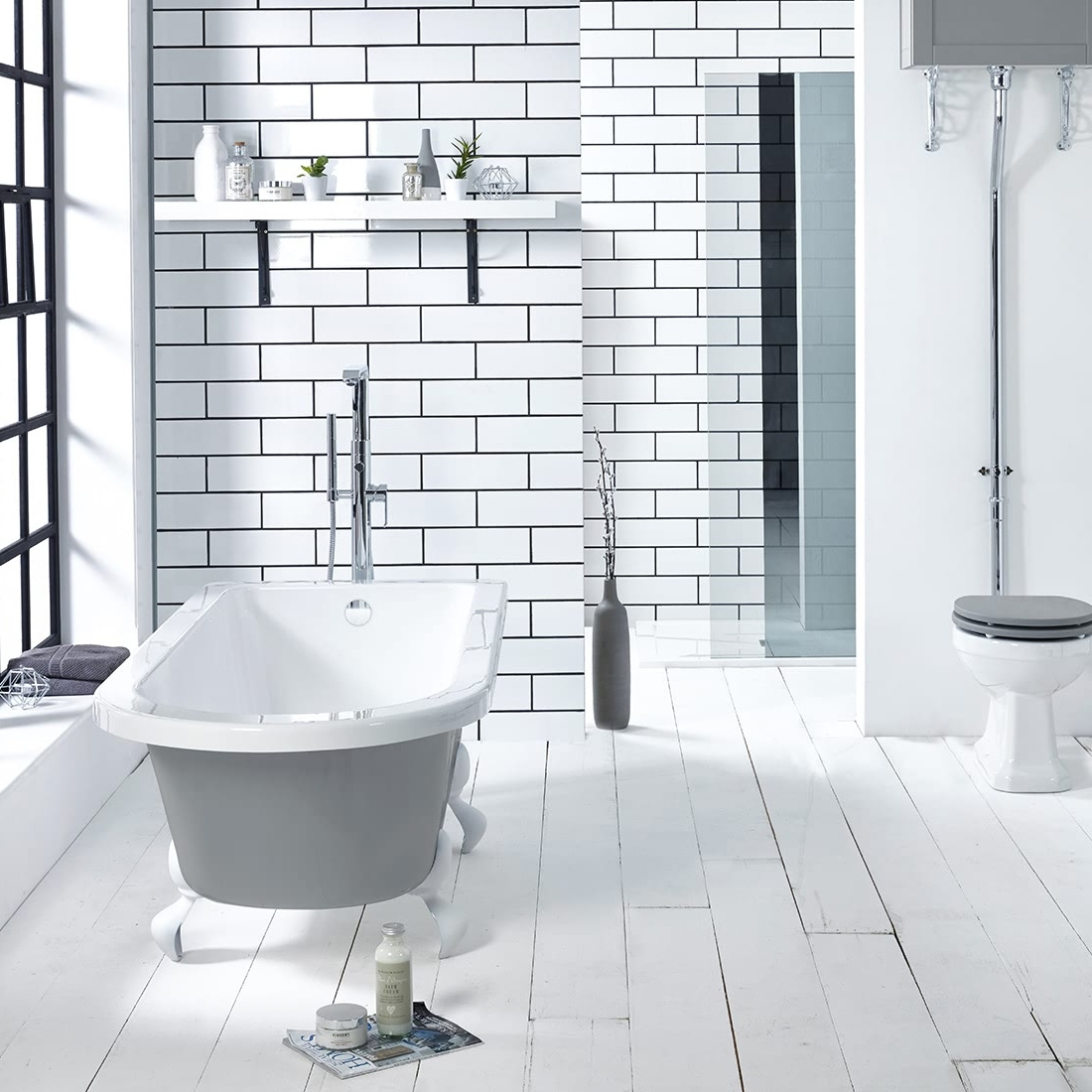Verona Kilnsey Freestanding Single Ended Bath 1700mm x 750mm Excluding Feet - Dust Grey Outer