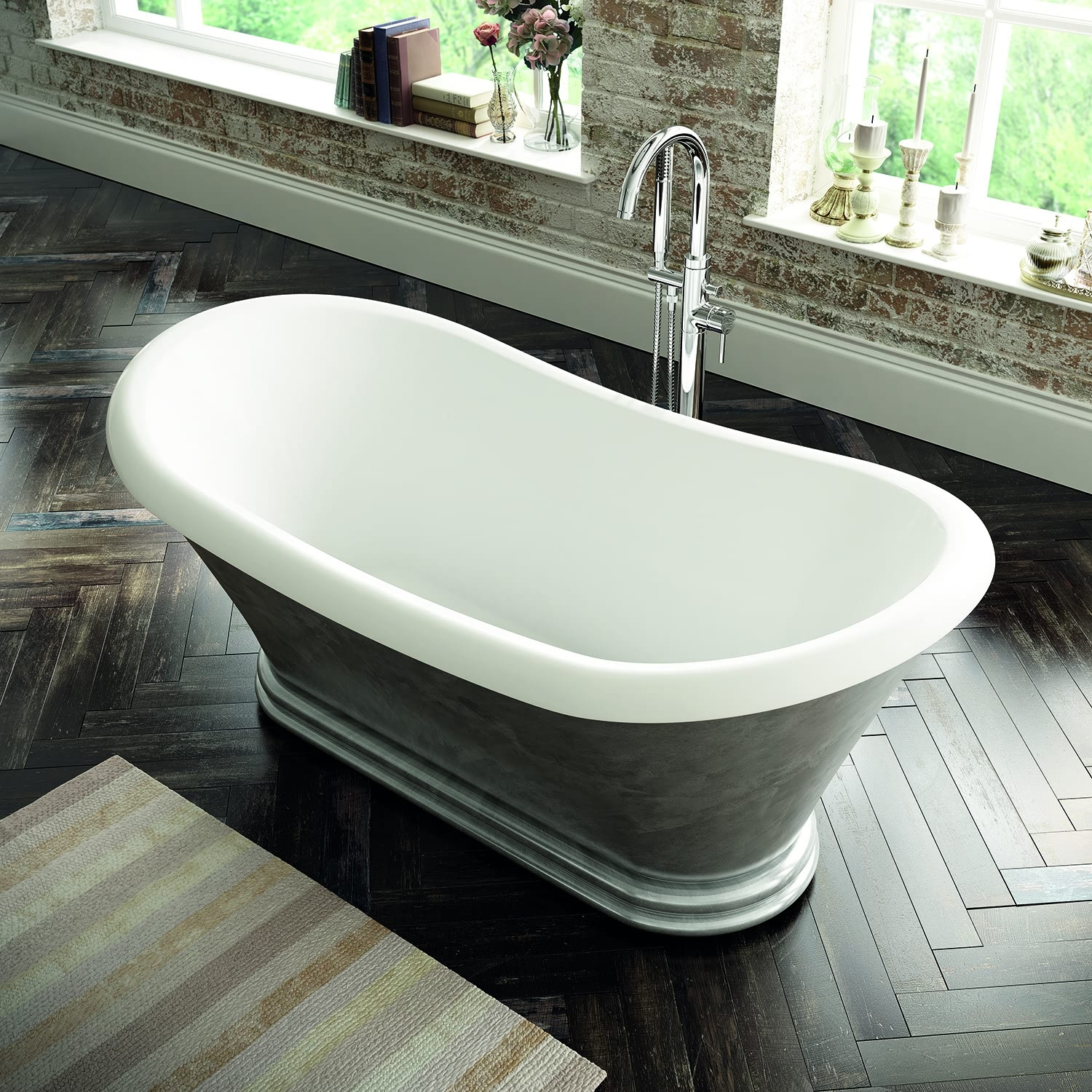 Verona Knightsbridge Freestanding Double Ended Bath 1700mm x 740mm - Scratched Aluminium Finish-0