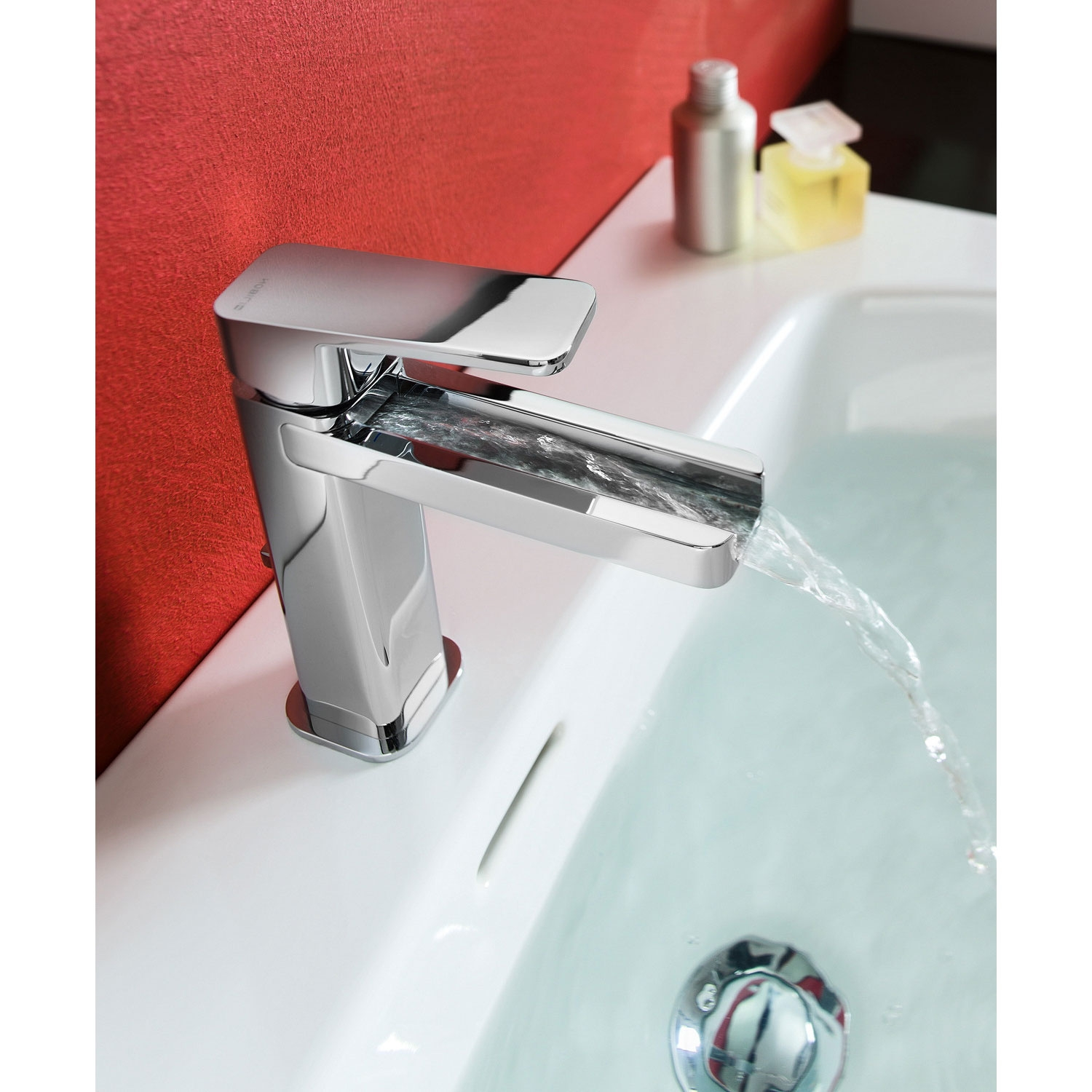Verona Loop Waterfall Basin Mixer Tap with Pop-Up Waste - Chrome