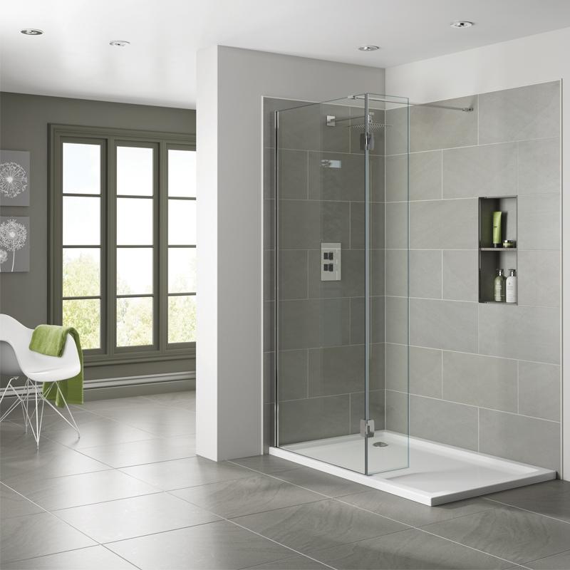 Verona Prestige2 Walk-in Shower Panel 700mm Wide - 10mm Clear Glass
