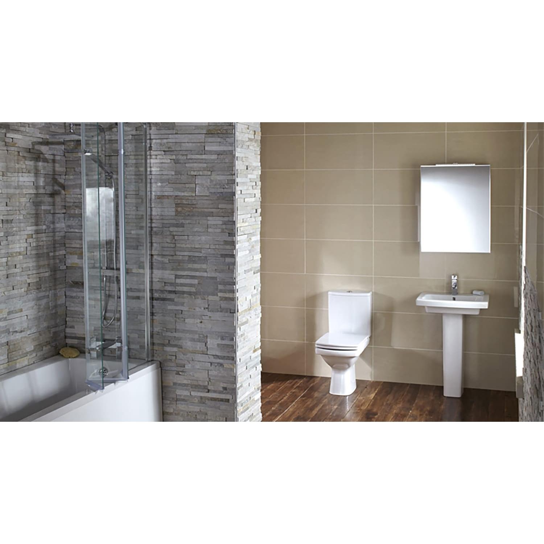 Verona Razor Close Coupled Toilet WC Push Button Cistern - Soft Close Seat