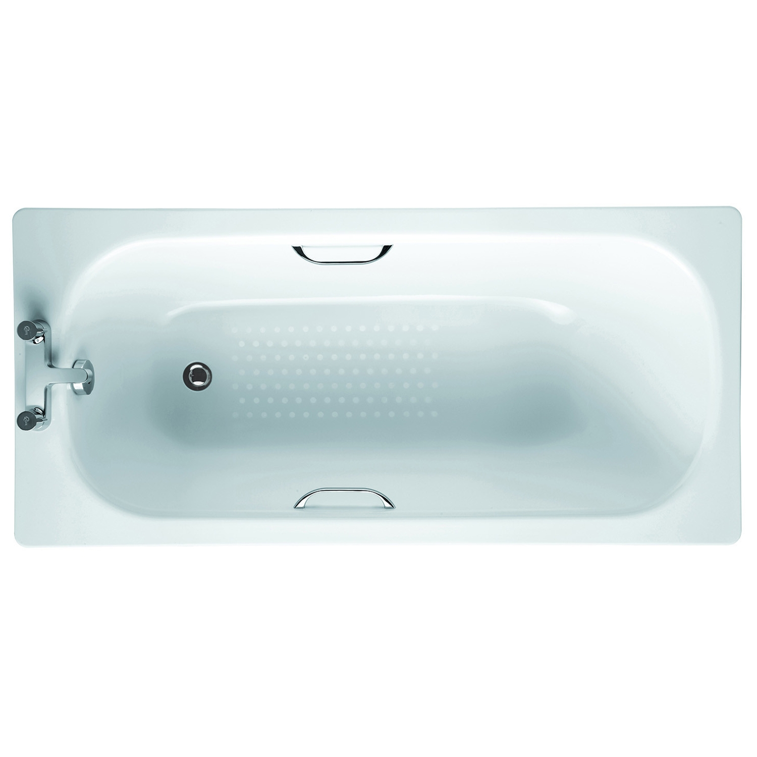 Verona Steel Single Ended Rectangular Antislip Bath 1500mm x 700mm - Drilled Grip Hole