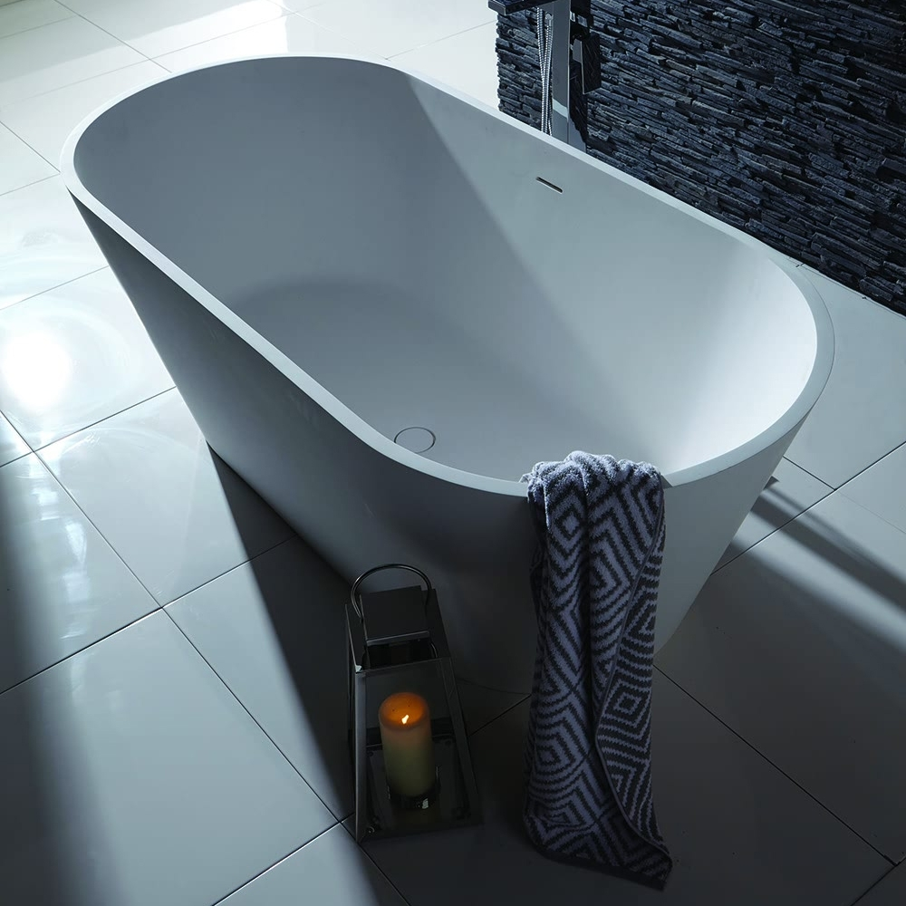 Verona Stone Freestanding Double Ended Bath 1700mm x 800mm - White-0