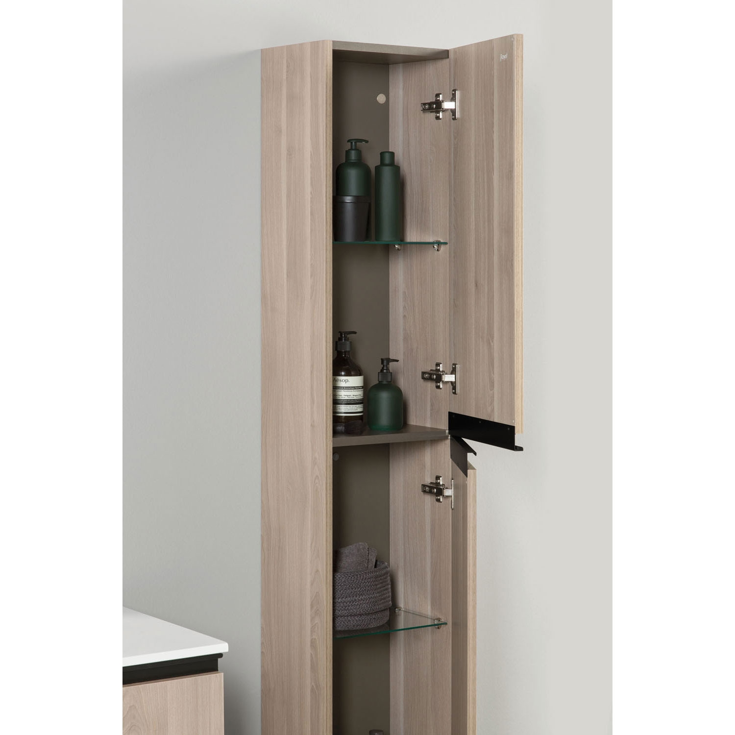 Verona Structure Wall Hung 2-Door Tall Unit 300mm Wide - Oak