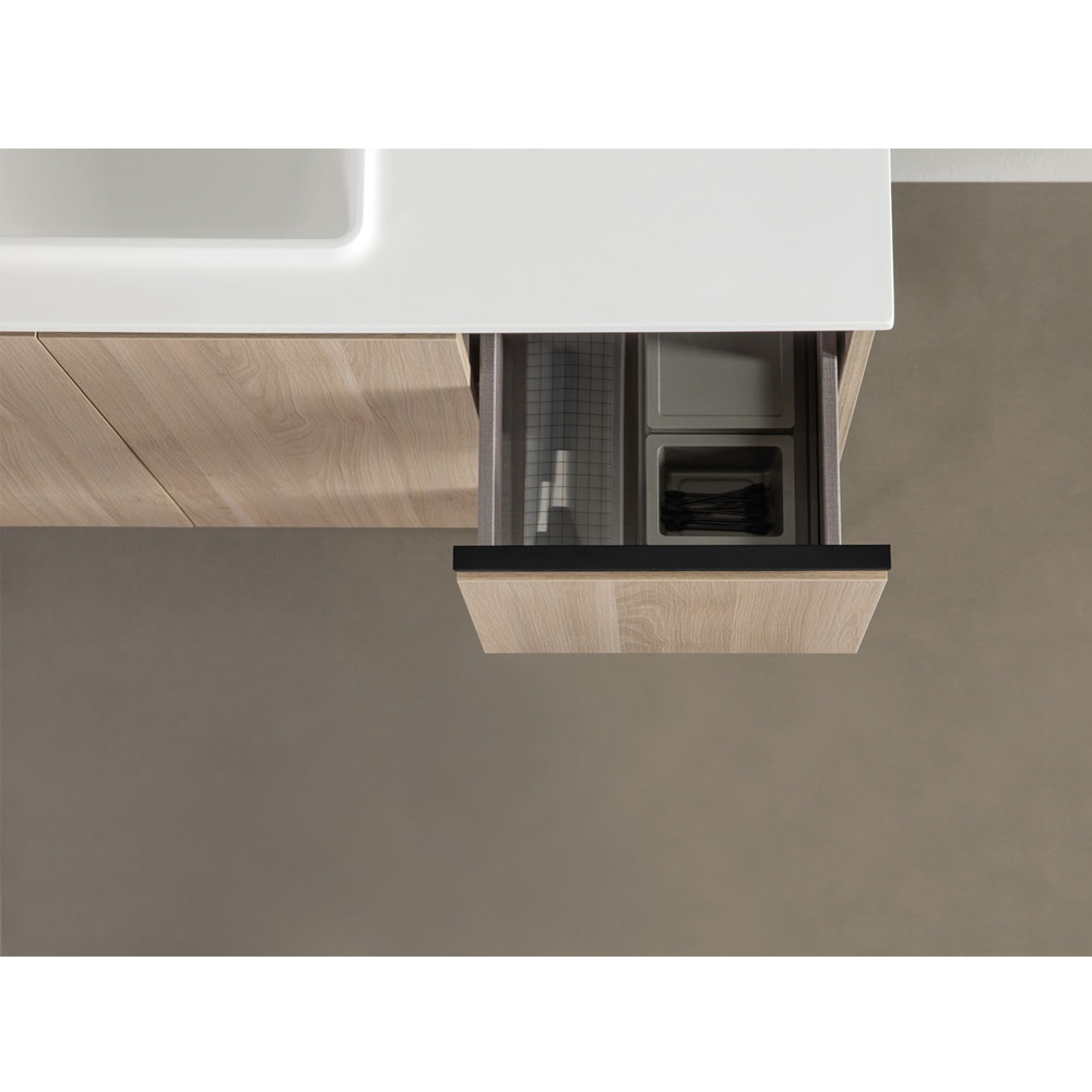 Verona Structure 2-Door and 2-Drawer Vanity Unit with Gel Coated Basin 900mm Wide - Oak