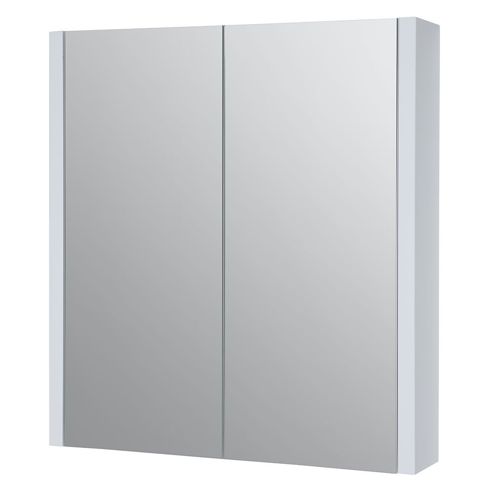 Verona Trevi 2-Door Mirrored Bathroom Cabinet 650mm H x 600mm W White