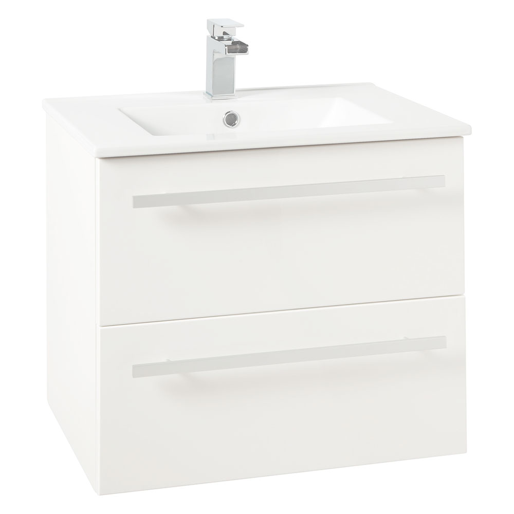 Verona Trevi Wall Hung Vanity Unit with Basin 600mm Wide White 1 Tap Hole-0