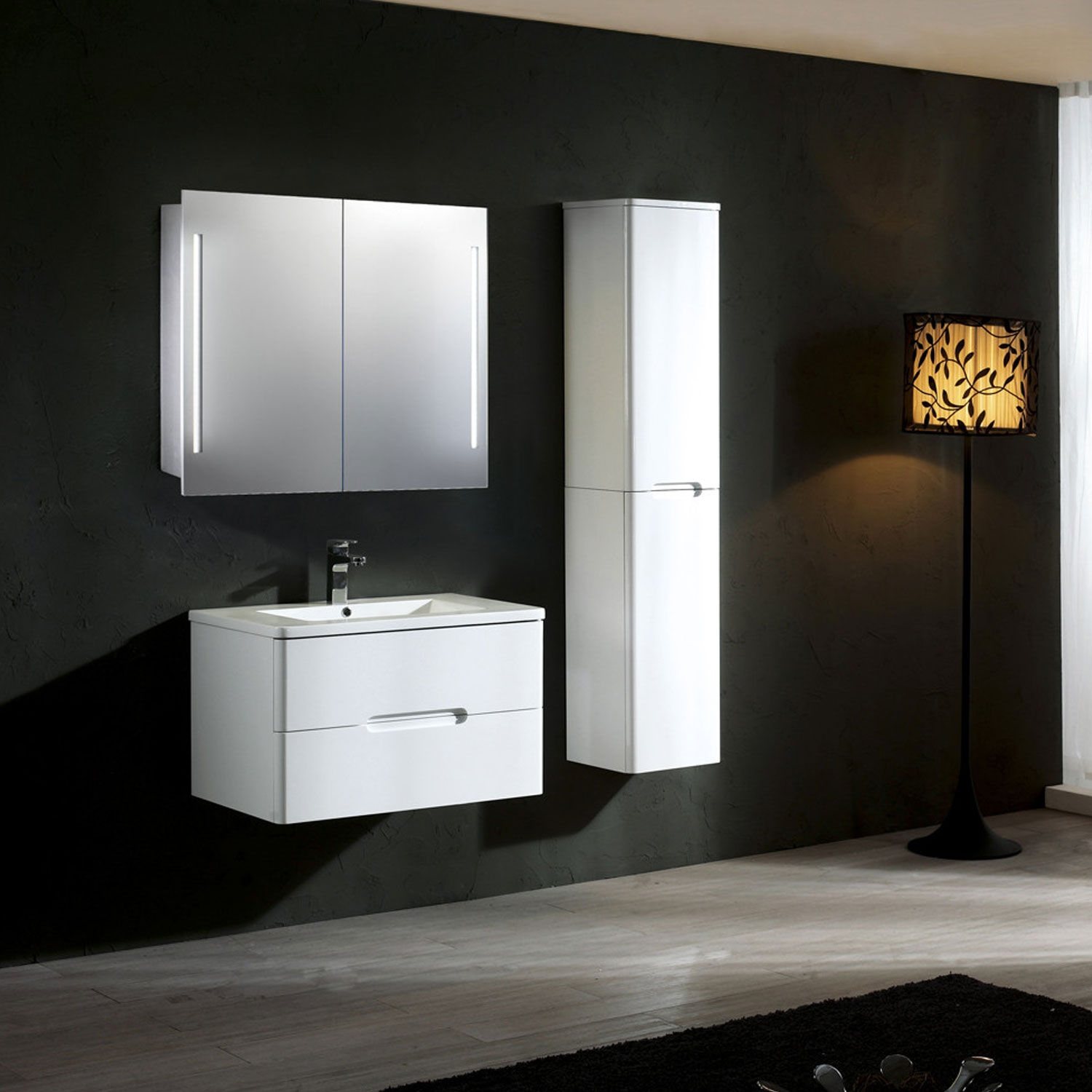 Verona Valletta Slimline 2-Door Mirrored Bathroom Cabinet 600mm with LED Light and Shaver Socket