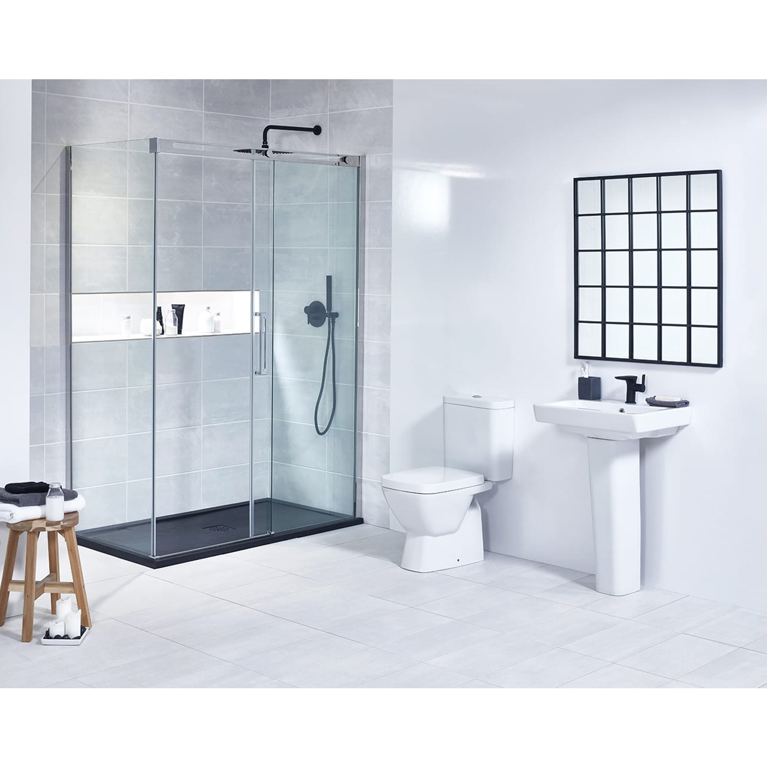 Verona Vibe Contemporary Basin with Full Pedestal 550mm Wide - 1 Tap Hole