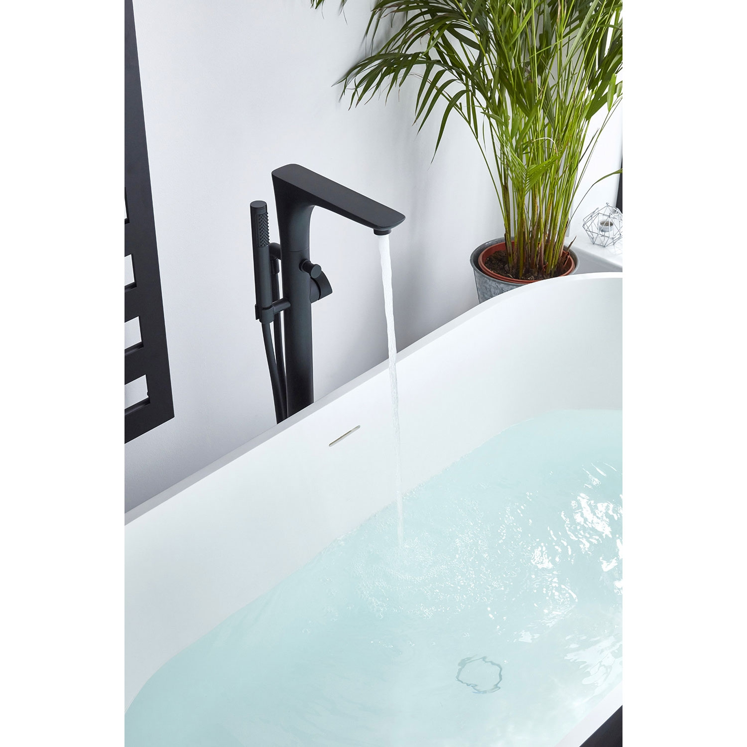 Verona Vibe Freestanding Bath Shower Mixer Tap with Shower Handset - Black-0