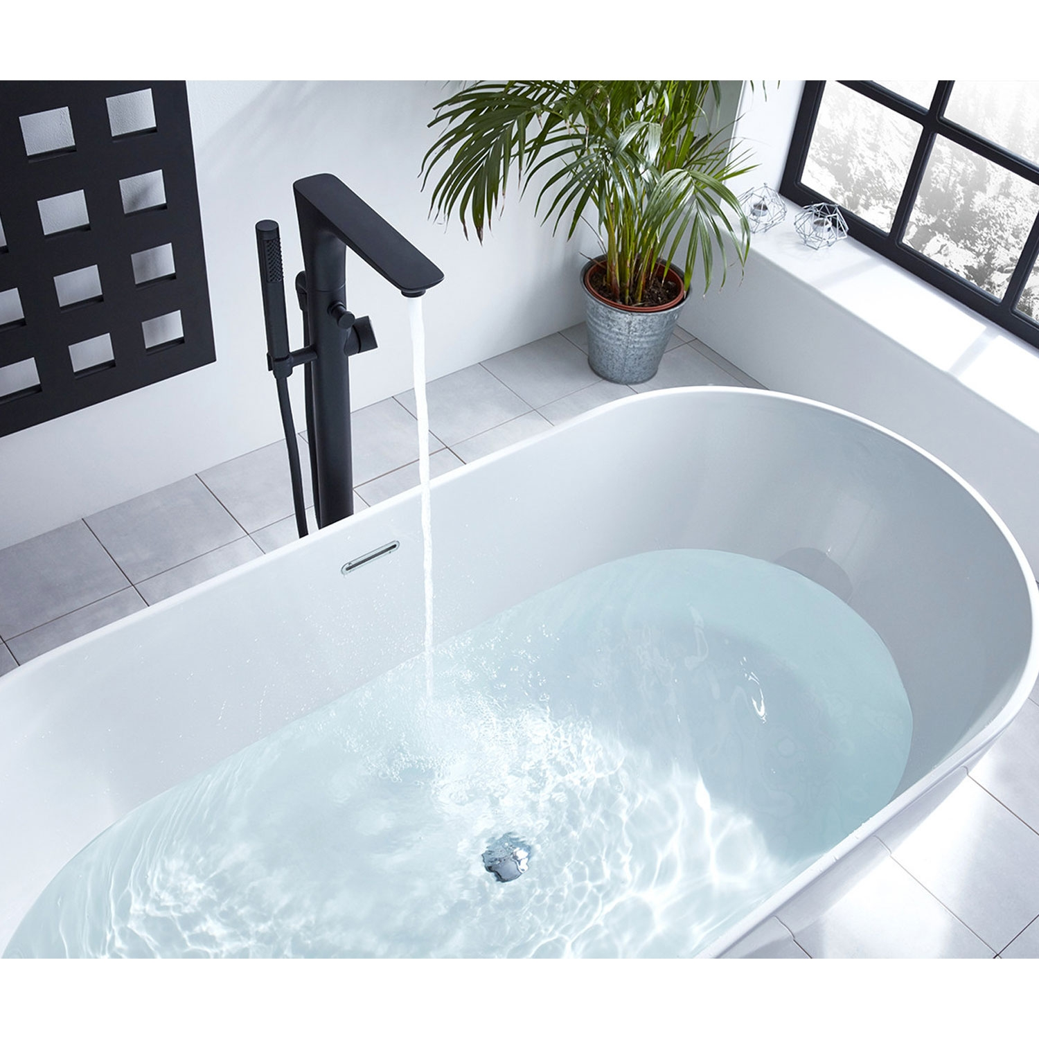 Verona Vibe Freestanding Bath Shower Mixer Tap with Shower Handset - Black-1