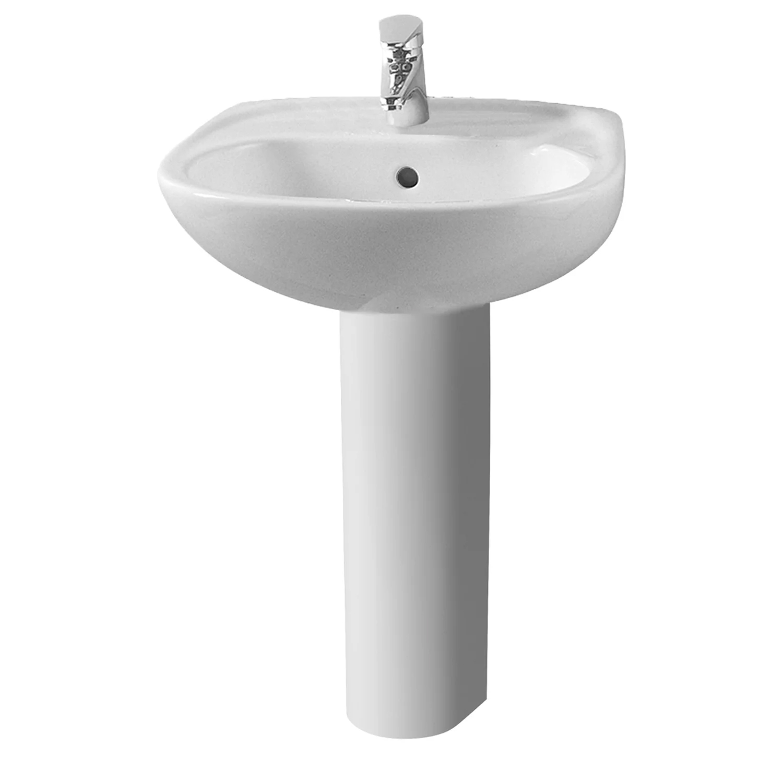 Vitra Arkitekta 450mm Basin and Full Pedestal 1 Tap Hole