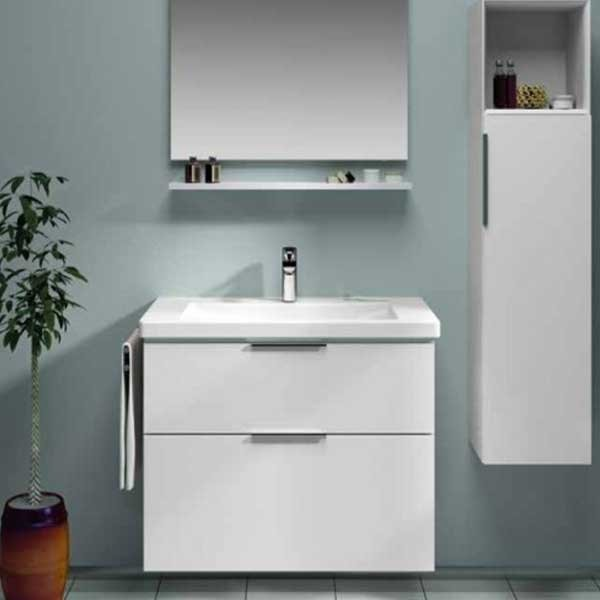 Vitra Ecora 2-Drawers Wall Mounted Vanity Unit with Basin - 600mm Wide - White