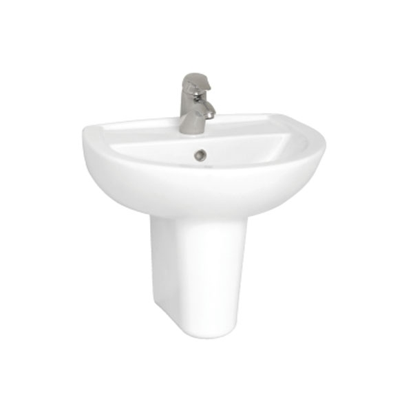Vitra Layton Basin with Semi Pedestal 550mm Wide - 2 Tap Hole