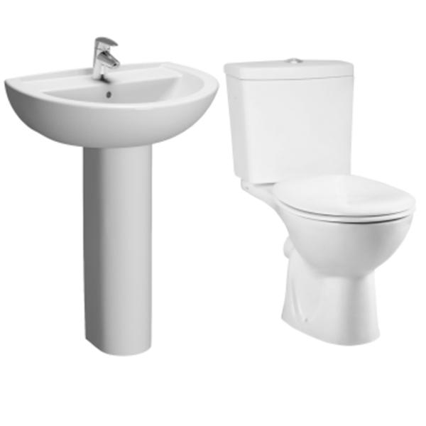 VitrA Layton Cloakroom Suite Toilet and 550mm 1 Tap Hole Basin-0