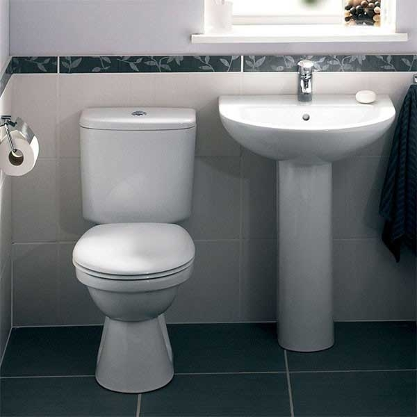 VitrA Milton Close Coupled Toilet WC Push Button Cistern - Standard Seat