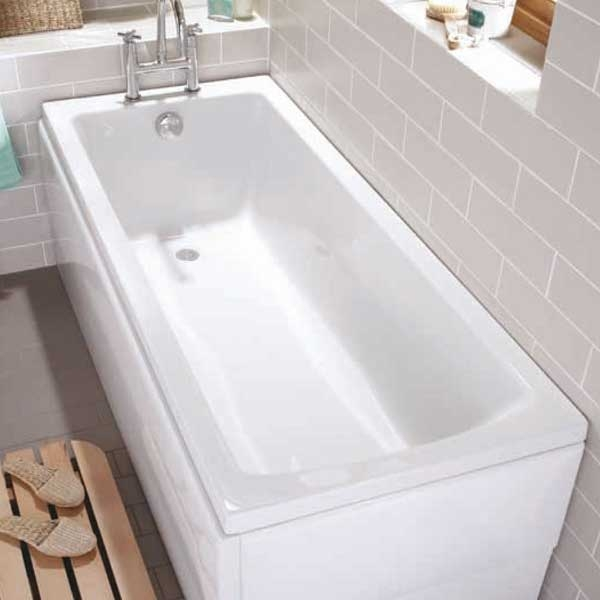 VitrA Neon Single Ended Rectangular Bath 1600mm x 750mm 0 Tap Hole-0