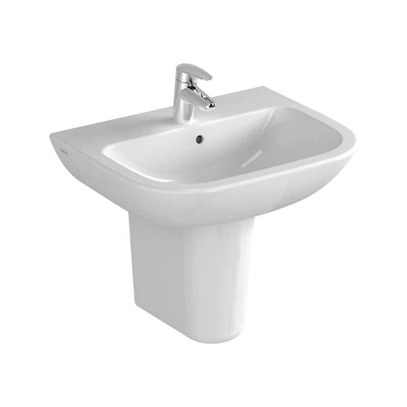 Vitra S20 Wash Basin and Large Semi Pedestal 550mm Wide 1 Tap Hole