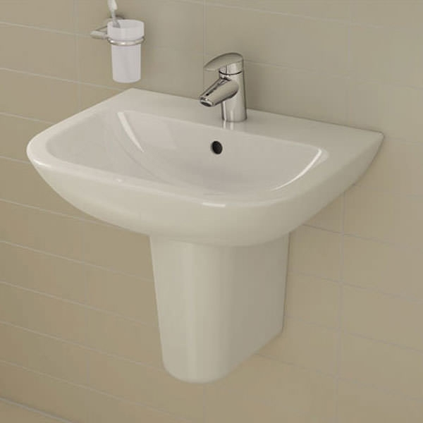 Vitra S20 Wash Basin & Semi Pedestal 600mm Wide 1 Tap Hole-0