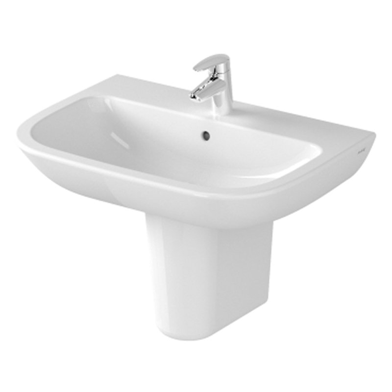 Vitra S20 Wash Basin and Large Semi Pedestal 650mm Wide 1 Tap Hole