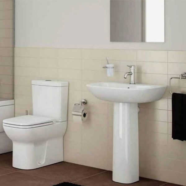Vitra S20 Wash Basin and Full Pedestal 650mm Wide 1 Tap Hole-0
