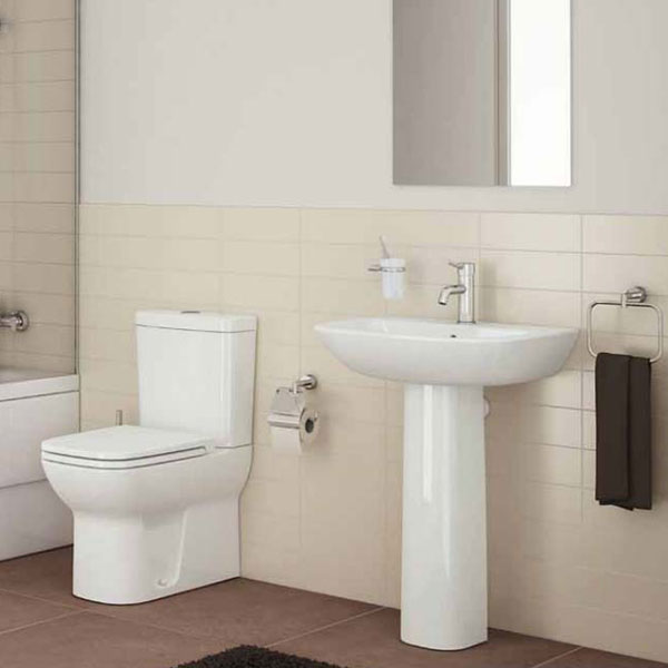 VitrA S20 Cloakroom Suite Toilet and 450mm 1 Tap Hole Basin - Soft Close Seat-2