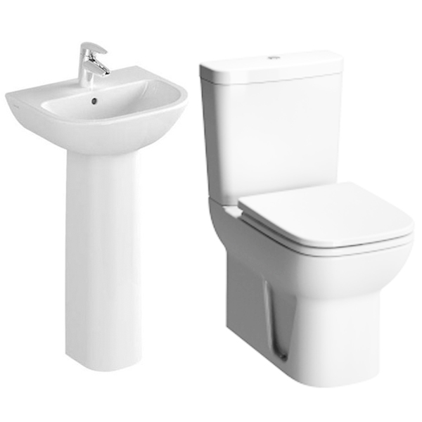 VitrA S20 Cloakroom Suite Toilet and 450mm 1 Tap Hole Basin-0