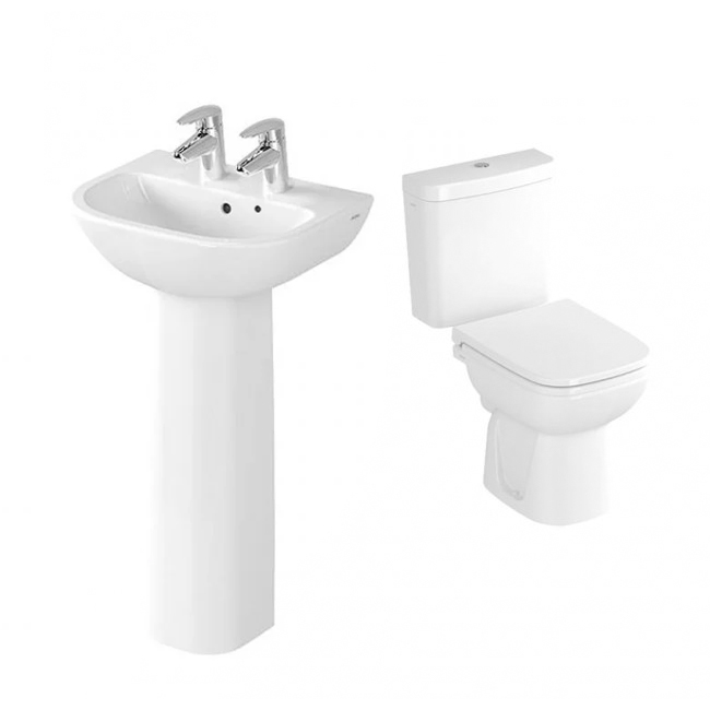 VitrA S20 Cloakroom Suite Toilet and 450mm 2 Tap Hole Basin-2