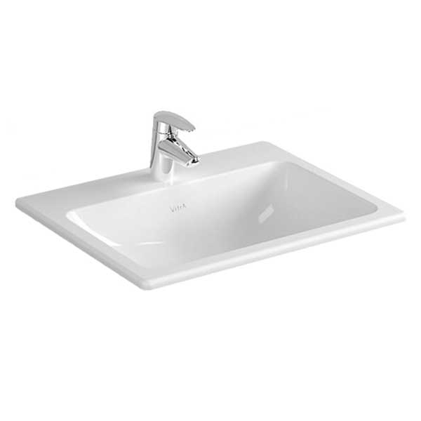 Vitra S20 Compact Countertop Basin 550mm Wide 1 Tap Hole