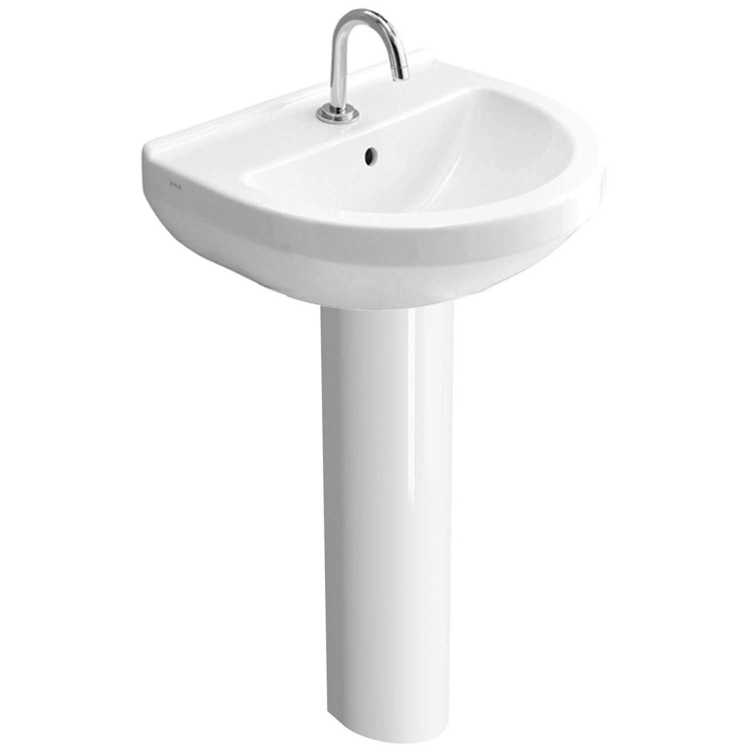 Vitra S50 Round Basin & Full Pedestal 550mm Wide1 Tap Hole-1