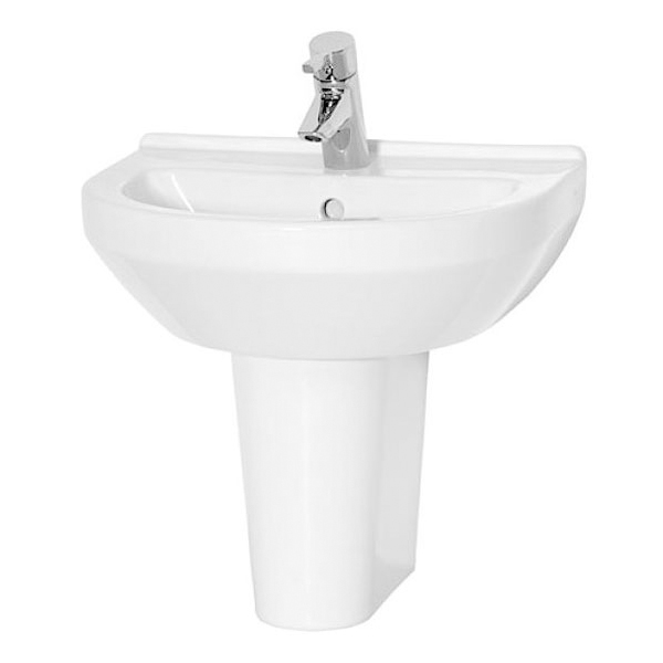 Vitra S50 Round Basin and Large Semi Pedestal 600mm Wide 1 Tap Hole