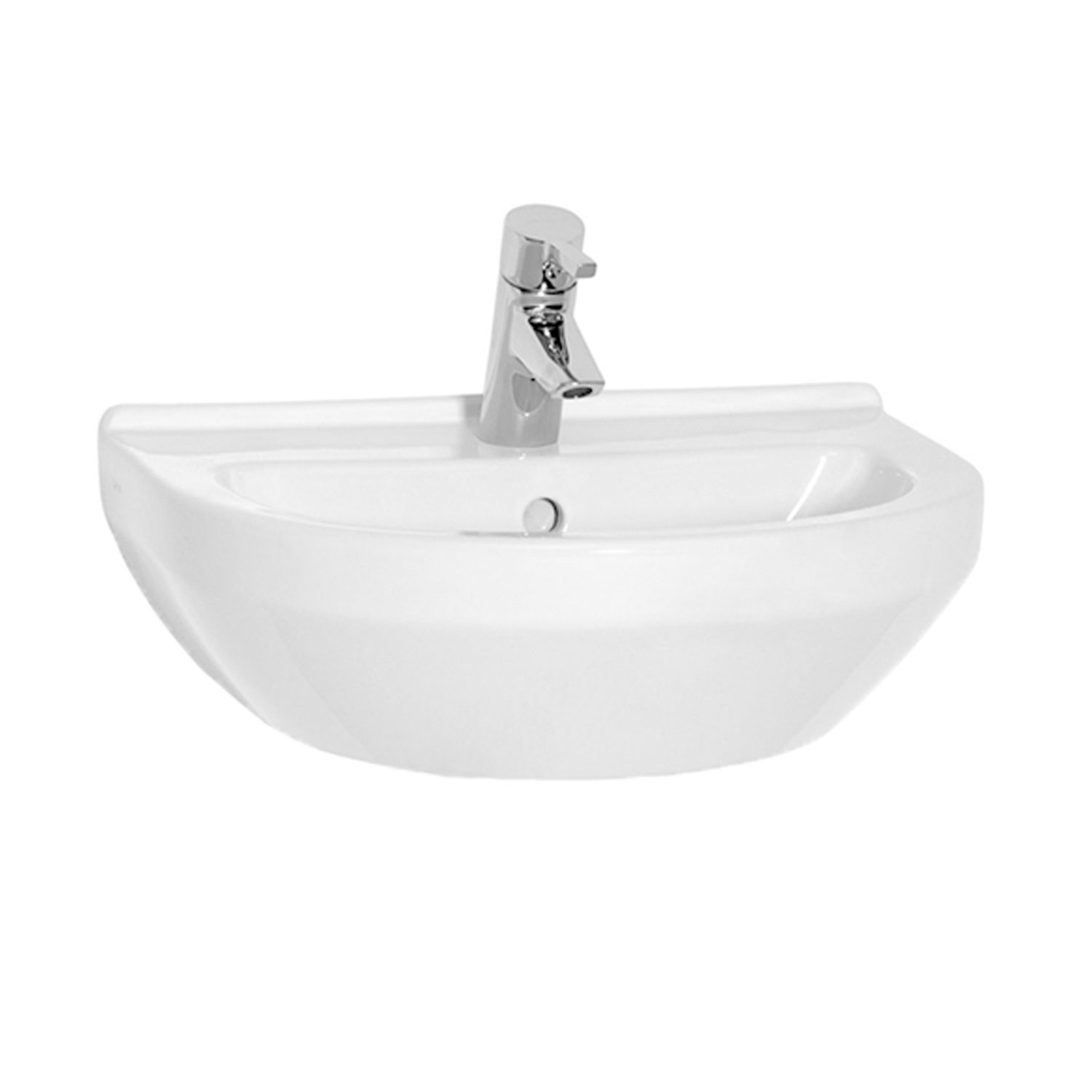 Vitra S50 Round Basin & Full Pedestal 650mm Wide 1 Tap Hole-0