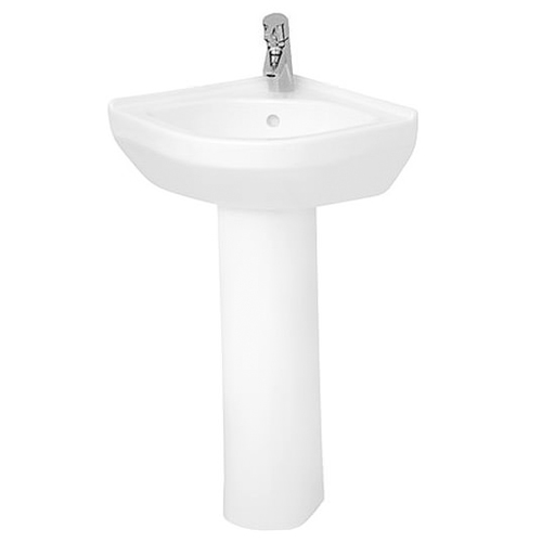 Vitra S50 Corner Basin and Full Pedestal 565mm Wide 1 Tap Hole