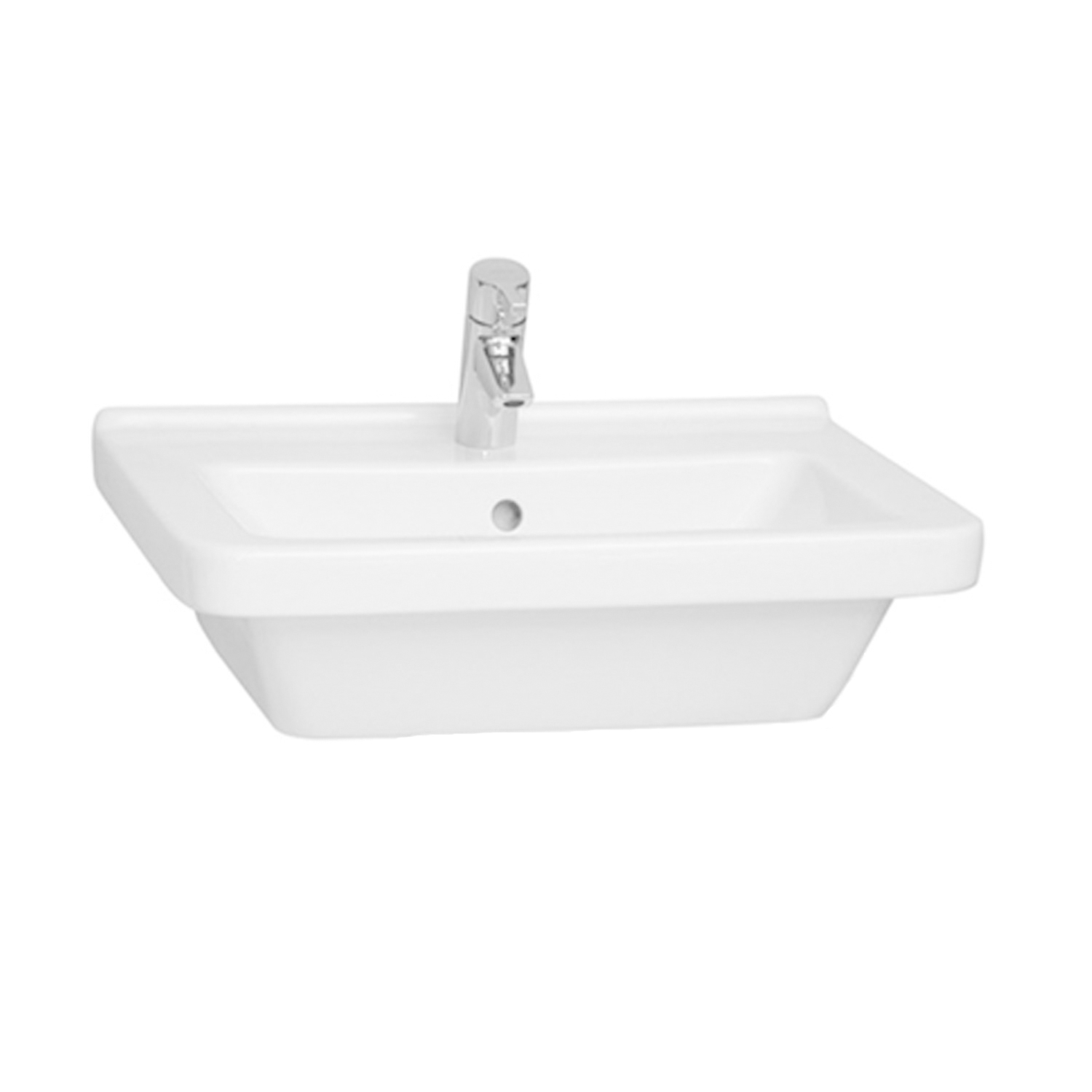 Vitra S50 Square Basin and Full Pedestal 650mm 1 Tap Hole