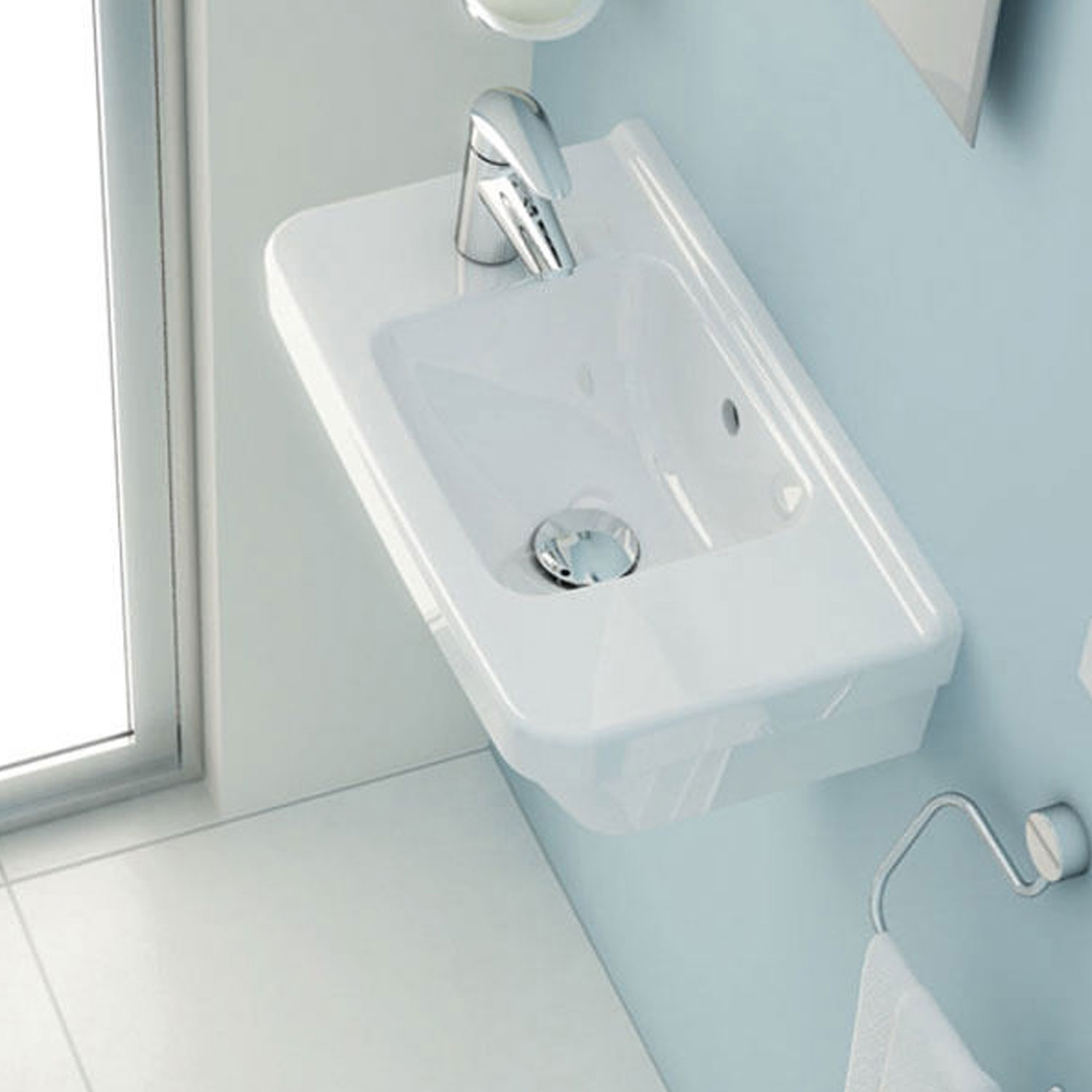 Vitra S50 Compact Basin Left Handed 500mm Wide 1 Tap Hole
