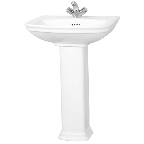 Vitra Serenada 600mm Basin & Full Pedestal 1 Tap Hole