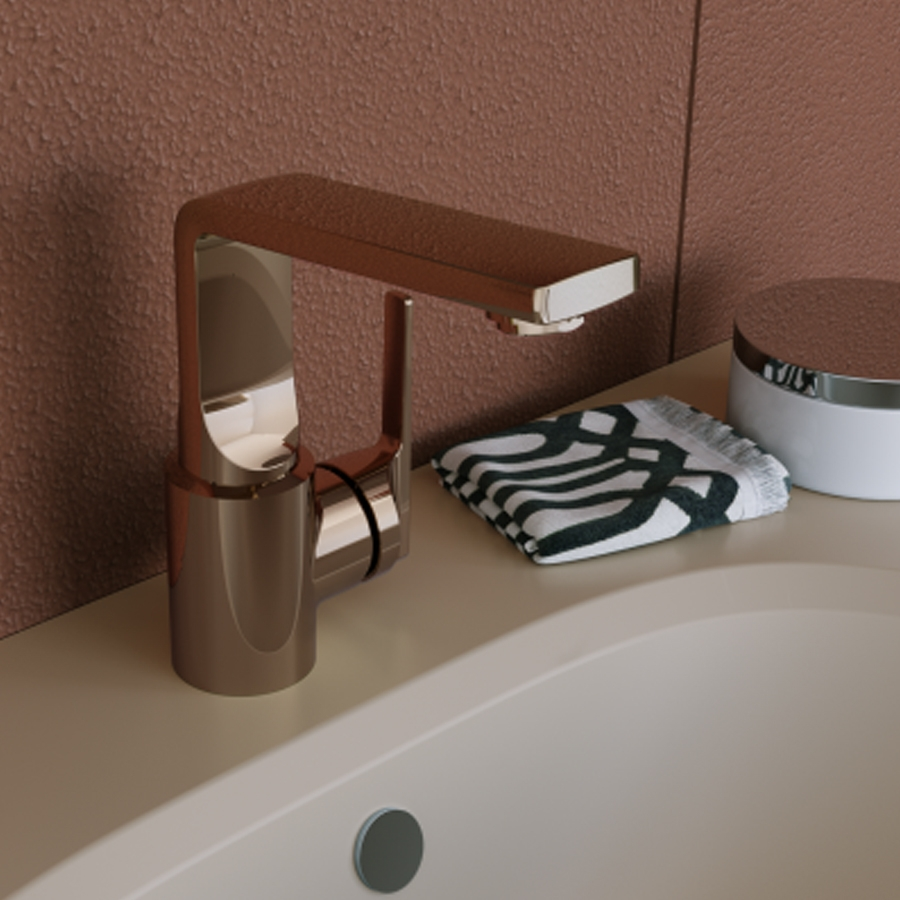Vitra Suit L-Spout Basin Mixer Tap with Pop-Up Waste - Copper