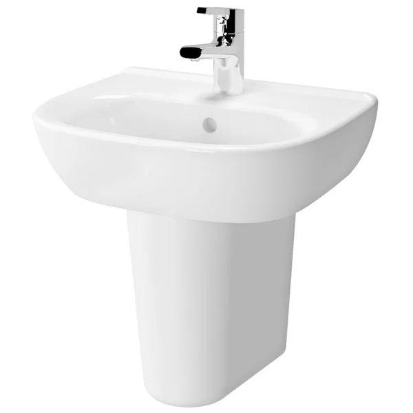 Vitra Zentrum Wash Basin and Large Semi Pedestal 650mm Wide 1 Tap Hole