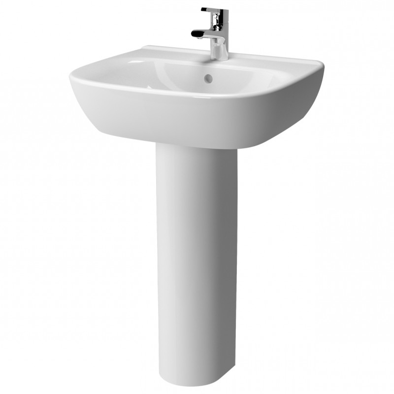 Vitra Zentrum Wash Basin and Full Pedestal 550mm Wide 1 Tap Hole