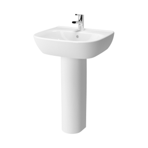 Vitra Zentrum Wash Basin and Full Pedestal 600mm Wide 1 Tap Hole