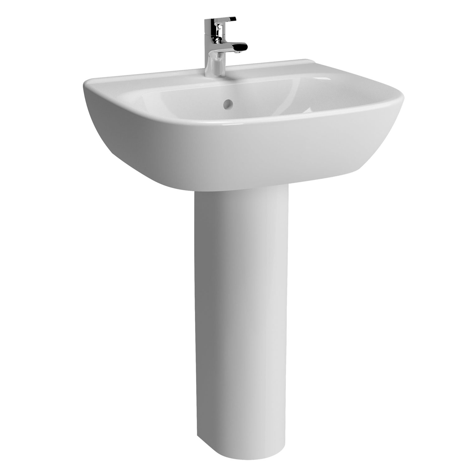 Vitra Zentrum Wash Basin and Full Pedestal 650mm Wide 1 Tap Hole