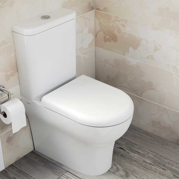 VitrA Zentrum Close Coupled BTW Toilet WC Push Button Cistern - Soft Close Seat-0
