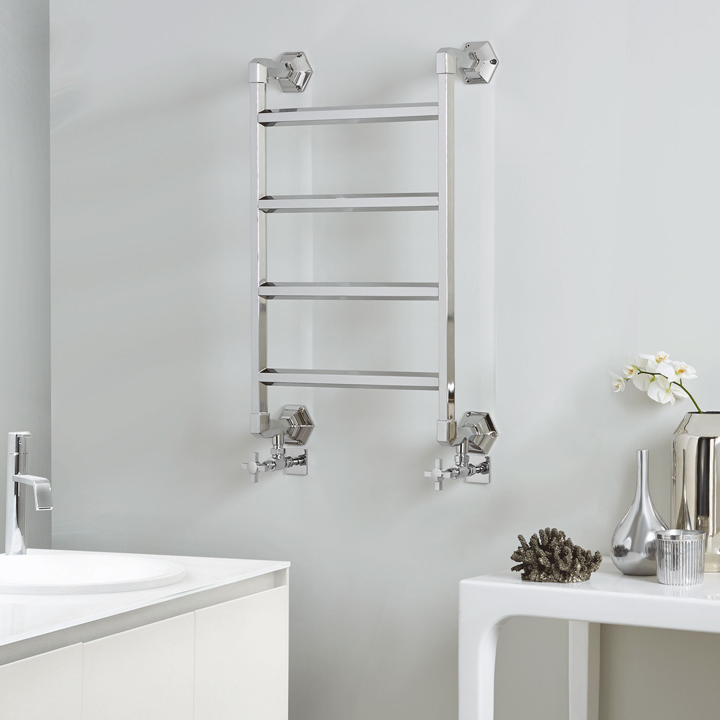 Vogue Art Moderne 4 Heated Towel Rail 835mm H x 700mm W Central Heating