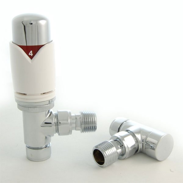 West Realm TRV Thermostatic Radiator Valves Pair, Wheel-head and Lockshield, Angled, White