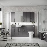 Hudson Reed Gloss Grey Compact Fitted Bathroom Furniture
